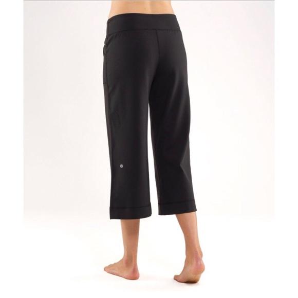 253d9c0cbb1fc lululemon athletica Pants - Lululemon Black Wide Leg Crop Yoga Still Pant